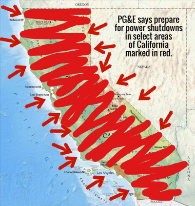 """State of California, humorously marked almost all red wit magic marker and saying """"PG&E says prepare for power shutdowns in select areas of California marked in red."""""""