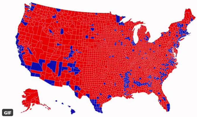 """""""red state"""" map, 2020"""