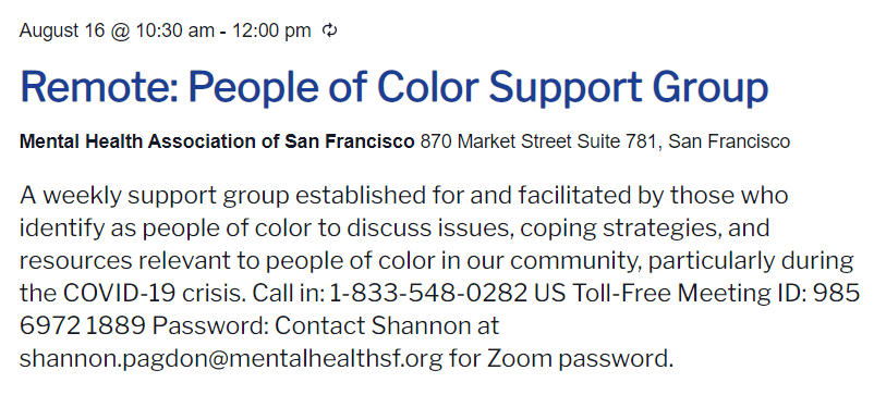 people of color support group